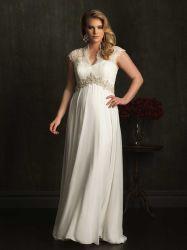 帝国妊婦のウェディングドレスの薄いレースの帽子の袖アイボリーの軽くて柔らかい浜の庭の花嫁のウェディングドレス