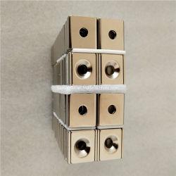 El neodimio NdFeB permanente super fuerte bloque cuadrado de la fuerza magnética agujero avellanado Pot