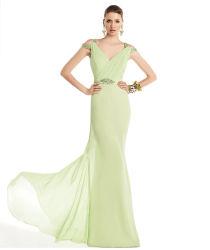 Em Stock Bridesmaid Dress Chiffon Longa Noite vestido de terceiros