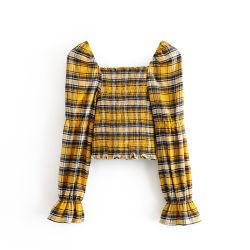Les femmes Classic Plaid carré d'impression Neckprint court à collet carré Blouse Mesdames Récolte à manchon long