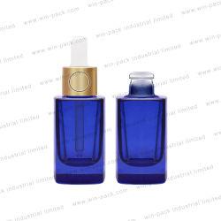 30ml rechteckige Form Tropfflasche Transparent Blau Farbe Tropfflasche Mit Gold Color Special Druckknopf Tropf für ätherisches Öl Hautpflege