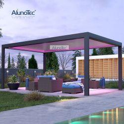 OEM/ODM Garden Motorised Sunshade Louvered Roof Waterproof Pergola tent voor buiten Patio Aluminium luifel paviljoen Gazebo met Zip scherm