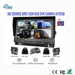 9 Polegada 4CH Quad Sistema de Câmera para visão traseira do carro para os autocarros Camiões