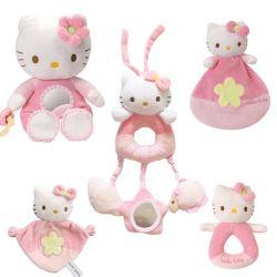 猫の手鐘の柔らかいキティのプラシ天の牛の赤ん坊の睡眠のおもちゃ