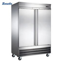 acier inoxydable de doubles portes Restaurant de cuisine de l'équipement de réfrigération commerciale verticale réfrigérateur congélateur