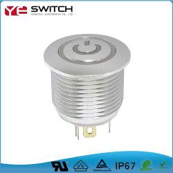 Botón Flat Power LED se iluminan el logotipo de Interruptor Pulsador de metal resistente al agua