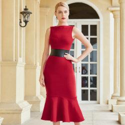 Усовершенствованная Леди без рукавов платья с кожаным поясом на резинке диапазона