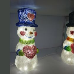 2019 Nuevo tema de acrílico de muñeco de nieve LED luces de Navidad