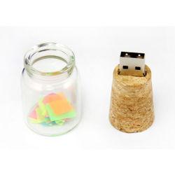 La dérive des bouteilles de bouteille qui souhaitent le bois de la mémoire flash USB avec logo Pendrive bouteille