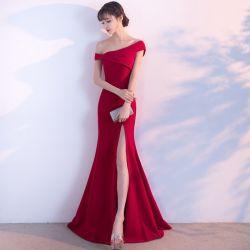 Encaje rojo niña vestido de dama de la boda vestido vestido de noche