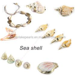 完全な金の縁の女性の魅力のブレスレットのイヤリングのネックレスが付いている方法宝石類の海のシェルのペンダント