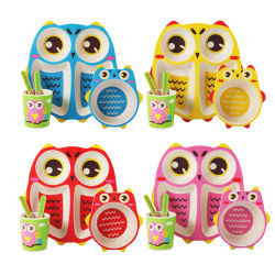 Owl Bamboo Ware Kids vaisselle défini pour cadeau de Noël