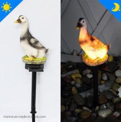 LED de Aterramento da Luz Solar Pato de resina para decoração de jardim