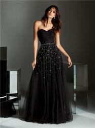Высокое качество Black Sexy Strapless Satin вечерние платья устраивающих свадебные платья невесты платья