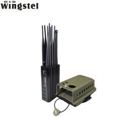 10의 악대 셀룰라 전화 GSM 3G 4G WiFi GPS Bluetooth UHF VHF Lojack 휴대용 신호 차단제를 움직이지 않게 하는 회의실을%s 강력한 이동 전화 신호 방해기