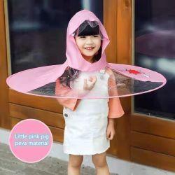 かわいいアヒルの幼児UFO岬の傘の帽子のマントのFoldable骨無しの防水レインコート