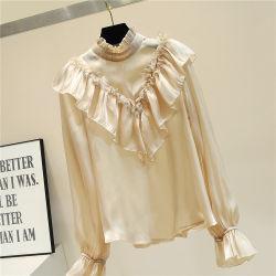 Модные корейской версии лед лед лед втулку лепестков кружева пэтчворк блуза для леди