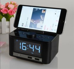 Bt 스피커 AC/DC 경보 라디오 MP3 USB 호텔 시계와 전화 책임