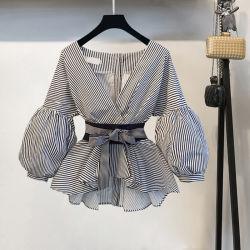 Фонари втулку блуза рубашка летом носовой части V-образный вырез горловины Рубашка в полоску Элегантные дамы Топс женской одежды