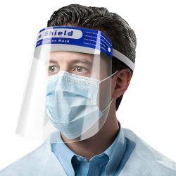 가면 투명한 얼굴 방패 반대로 바이러스 코로나 바이러스는 반대로 안개 얼굴 방패를 가진 확대경 광학 프레임에 입 보호 가면을, 위에 주목한다