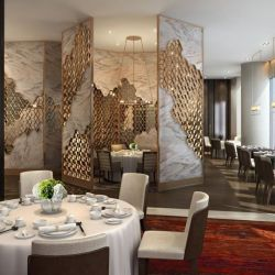 Diseño moderno restaurante de la pantalla de la partición de corte láser de la pantalla del panel de pared de la pantalla de mármol