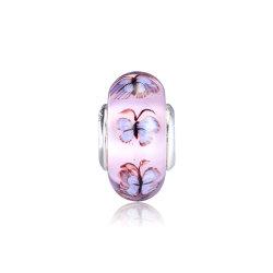 قلادة من زجاج المورانو الأرجواني وسحر نمط الفراشة