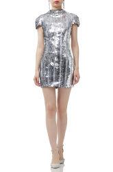 Mc4073 Metallic Close-fitting Silver Sequined High Neck Short Sleeve Dress