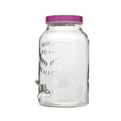 Vino caldo di vendita e vaso di vetro dell'erogatore della bevanda con lo zipolo