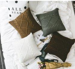 Capa do assento Soft Rhombic Tricô lã espessa fronhas deite travesseiro decoração doméstica para Sala Sofá Cama 45x 45cm