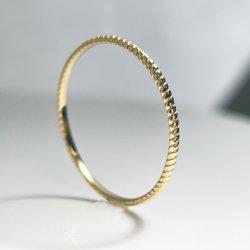 Pequeño anillo de oro sólido Twining Anillo de Oro 14K