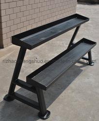 Fitness almacenamiento horizontal de Kettlebell 2 estantes Rack para equipos de gimnasio usa