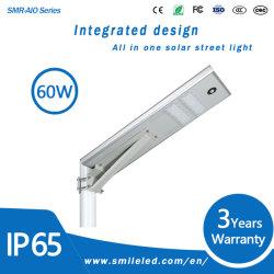 LED de exterior 20W 30W 40W 50W 60W 80W 100W con protección IP65 Resistente al agua todo en un sensor de movimiento de la luz de calle solar integrada