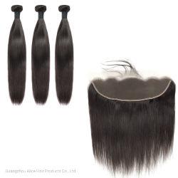 4X13 droites humaines naturelles brésilien vierge Tissage de cheveux de la Dentelle Bundle avec fermeture