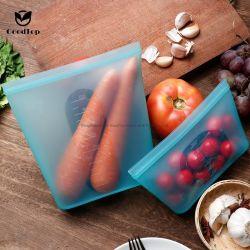Grau alimentício Saco para armazenamento de alimentos de Silicone reutilizáveis Fresh-Keeping Zipper Bag a estanquidade