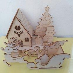 Ornamenti di legno di natale di legno non finito degli ornamenti che appendono i mestieri per DIY, decorazione d'attaccatura di abbellimenti di natale