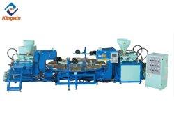 Kingmin 자동 회전 플라스틱 유형 PVC TPR 3색 밴드 슈 슬리퍼 고무 밑창 제작 사출 성형 기계