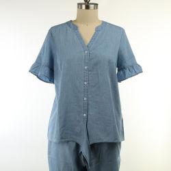 B9MW113 60%の綿40% Lyocelのデニムの女性によって編まれるワイシャツ
