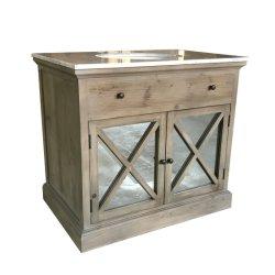 Unité de style rustique en bois recyclée Salle de bains avec miroir personnalisé haut de la vanité