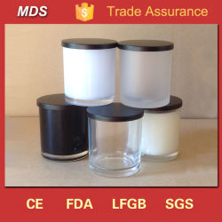 Tarro de cristal negro perfumado de la vela de la decoración al por mayor con las tapas negras para hacer