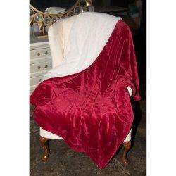 Coperta d'inversione della manovella di Sherpa Borgogna del Micro-Visone della pelliccia lussuosa del Faux