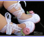 Ballet de ganchillo Patucos en blanco y polvoriento en primer lugar Rosada Walker Zapata algodón