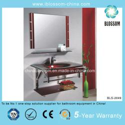 Bacinella di lavaggio con specchio in vetro temprato con telaio in acciaio inox (BLS-2049)