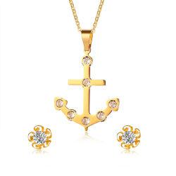 De gouden Reeks van de Juwelen van het Roestvrij staal van het Ontwerp van het Anker van de Manier van Juwelen 18K Gouden Geplateerde