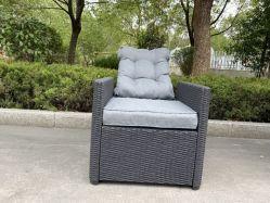 Canapé d'angle de plein air avec des coussins d'un patio de conversation de groupe définit en plastique moulé en résine de mobilier de jardin de style canapé