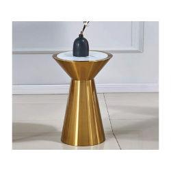 Piano del tavolo rotondo in vetro colorato antiriflesso in acciaio inossidabile lucido oro/nero Tabella di negoziazione Coffee Table