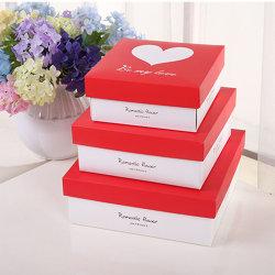 하트 프린팅 스퀘어 쉐이프 발렌타인 & 라수거, S 데이 선물 상자가 있는 웨딩 선물 박스