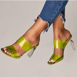 Летом новые модели дамы Sexy Прозрачные пантолеты ясно пятки колодок