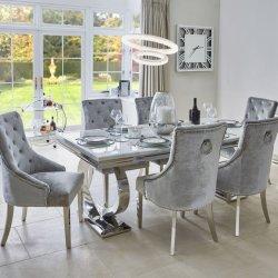 Серым бархатом и белого мрамора верхней части таблицы свадьбы стиле номерах стол и стул обеденный стул ресторан и кафе место Председателя