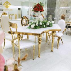 مطعم إيطالي أنيق ذو تصميم أنيق ذو قاعدة من الفولاذ المقاوم للصدأ شبه دائرة مائدة طعام لاستخدام حفلة الزفاف