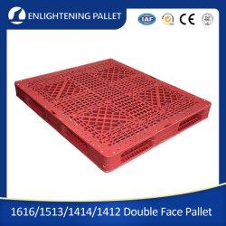 HDPE reforzado doble cara la entrada de cuatro vías industriales duraderos reforzado de acero de gran Euro paletas de plástico apilables montable en rack reversible para apilamiento de almacén